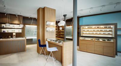 Super aménagement moderne d'une boutique d'opticien