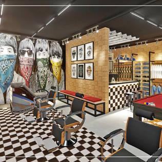 Barbearia + Loja de Roupas Masculinas: Espaços comerciais por Ambientando Arquitetura & Interiores