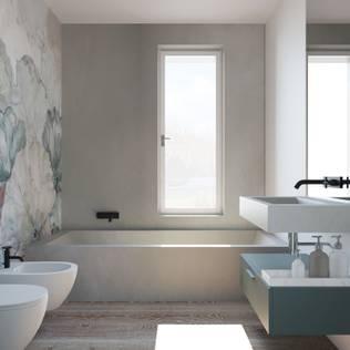 Interior design trilocale: Bagno in stile di ALMA Architettura | Mario Pan | Alessandro Pezzotti