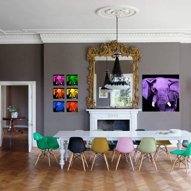 Home In-situ animal paintings Phòng ăn: Thiết kế nội thất · bố trí · Ảnh bởi Thierry Bisch - Peintre animalier - Animal Painter