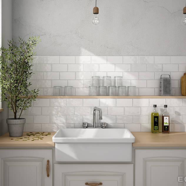 Nhà bếp phong cách Địa Trung Hải bởi Equipe Ceramicas Địa Trung Hải gốm sứ