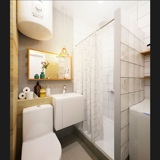 Phòng tắm phong cách tối giản bởi IK-architects Tối giản