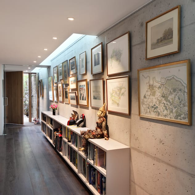 E2 PAVILION ECO HOUSE, BLACKHEATH Modern corridor, hallway & stairs by E2 Architecture + Interiors Modern