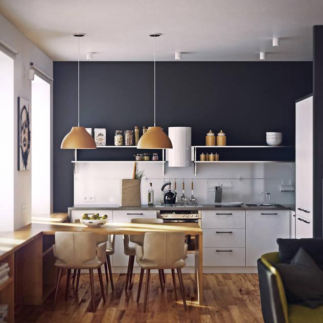 Nhà bếp phong cách Bắc Âu bởi sreda Bắc Âu
