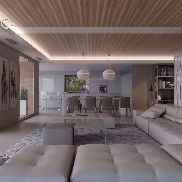 Villa Ciclopes: moderne Wohnzimmer von Miralbó Excellence