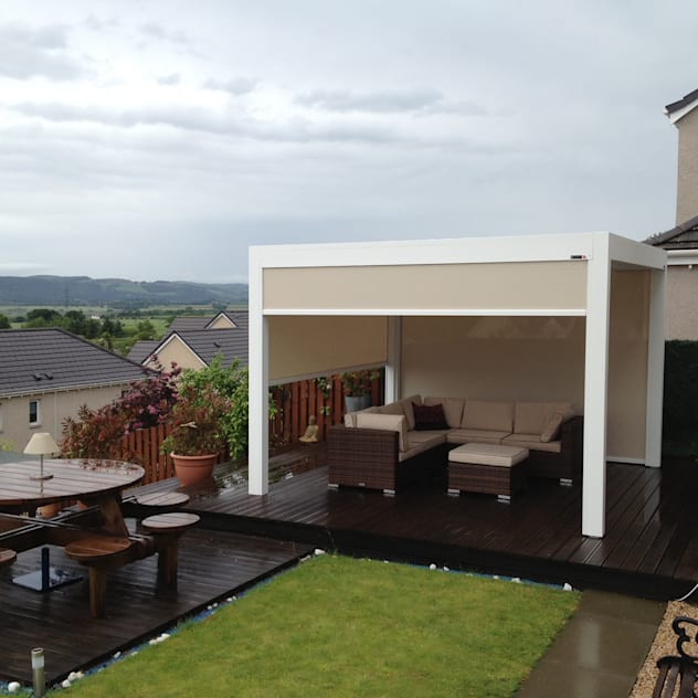 Outdoor Living Pod, Louvered Roof Patio Canopy Installation in the Scottish Borders. : modern Garden by Caribbean Blinds