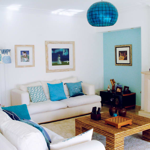 maria inês home style Living room Blue