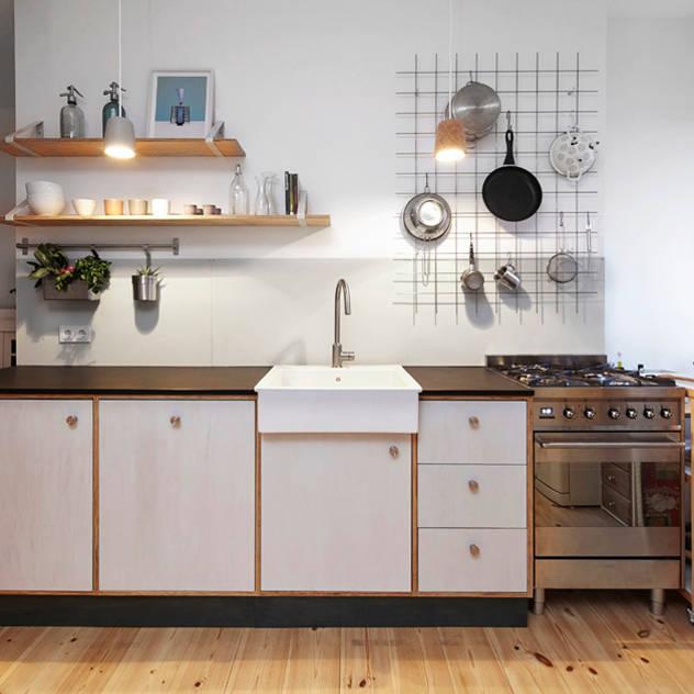 Nhà bếp phong cách tối giản bởi Happyhomes Tối giản Gỗ Wood effect