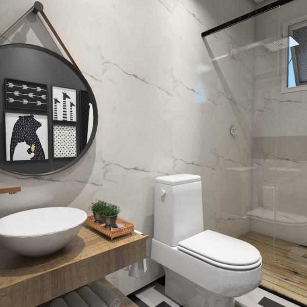 lavabo descolado: Banheiros  por Studio M Arquitetura