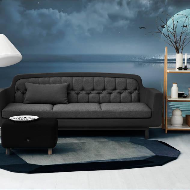 Full moon over the ocean Modern living room by Pixers Modern