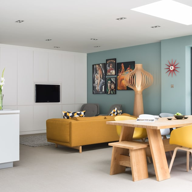 Open plan kitchen and dining SWM Interiors & Sourcing Ltd Modern dining room