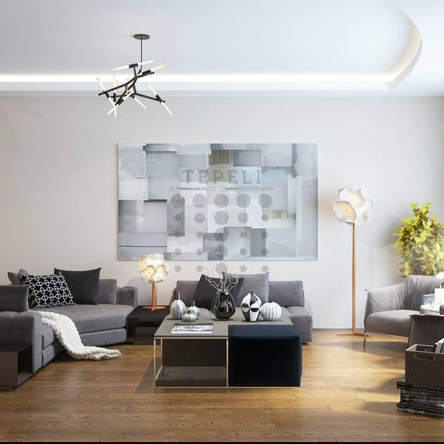 Tepeli İç Mimarlık – Tema İstanbul Evi - Halkalı - Konsept Proje Çalışması: modern tarz Oturma Odası