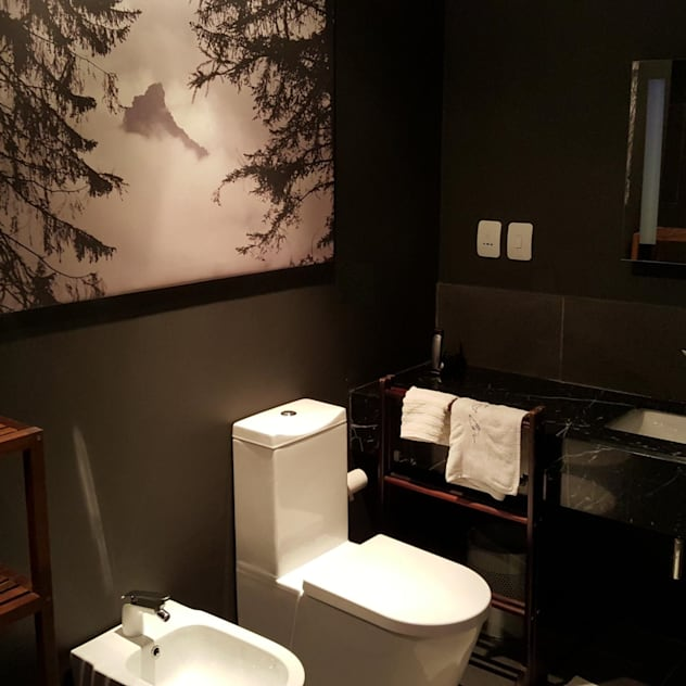 dark bathroom Human Voice Architects Modern bathroom