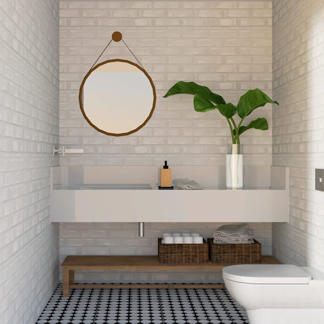 Lavabo - Por Patrícia Nobre: Banheiros minimalistas por Patrícia Nobre Interiores