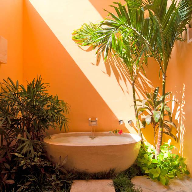 Phòng tắm phong cách nhiệt đới bởi foto de arquitectura Nhiệt đới Đá hoa