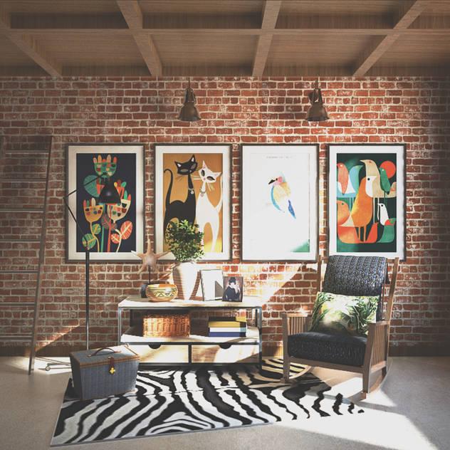 Veon Interior Studio Rustic style media room Bricks Multicolored