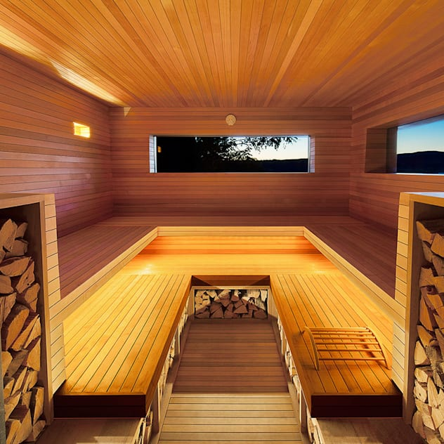 Home Spa Ultimate Guide (Ideas, Recipes, Benefits, Treatments); Hudson Valley Spa: Sauna by andretchelistcheffarchitects