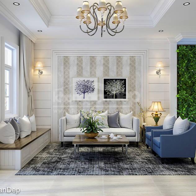 Phòng khách Phòng khách phong cách Bắc Âu bởi Công ty cổ phần đầu tư xây dựng Không Gian Đẹp Bắc Âu
