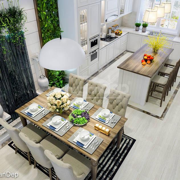 Phòng bếp Phòng ăn phong cách Bắc Âu bởi Công ty cổ phần đầu tư xây dựng Không Gian Đẹp Bắc Âu