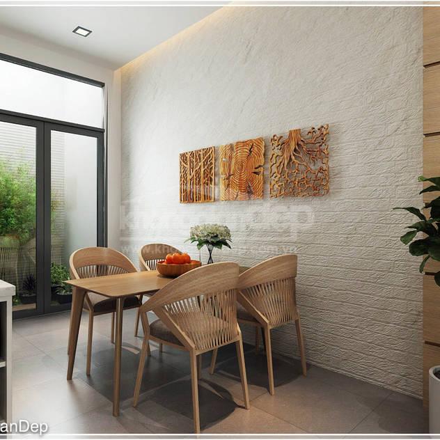 Phòng bếp Phòng ăn phong cách mộc mạc bởi Công ty cổ phần đầu tư xây dựng Không Gian Đẹp Mộc mạc