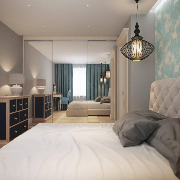 Small traditional apartment EVGENY BELYAEV DESIGN Classic style bedroom
