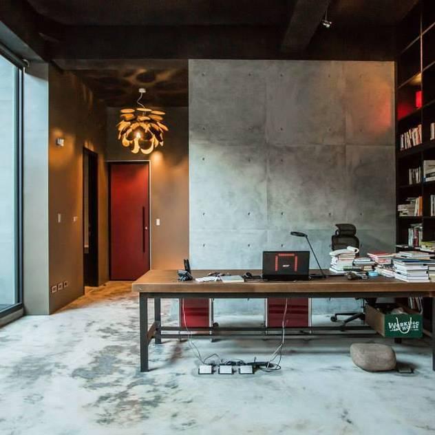 Phòng học/văn phòng phong cách tối giản bởi 業傑室內設計 Tối giản Bê tông