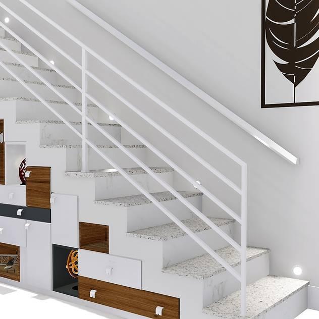 Casa compacta e completa: Escadas por Trivisio 3D