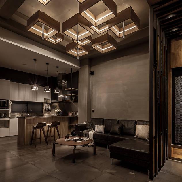 客廳 漢玥室內設計 Living room Tiles Metallic/Silver