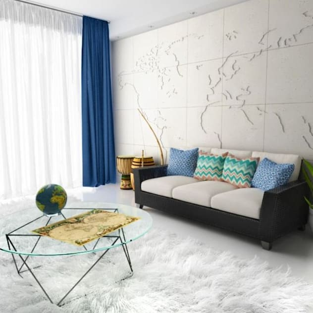 3D Wandverkleidung 'MAP OF THE WORLD' Moderne Wohnzimmer von Loft Design System Deutschland - Wandpaneele aus Bayern Modern