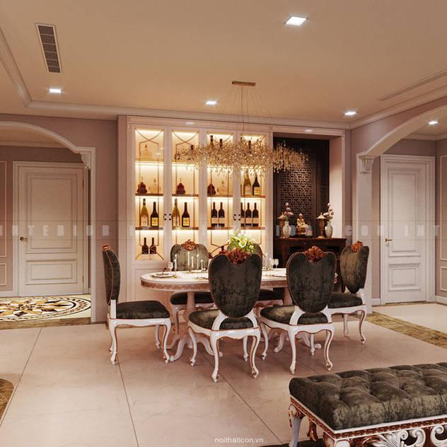 Nội thất căn hộ Vinhomes Central Park - Phong cách Tân Cổ Điển Phòng ăn phong cách kinh điển bởi ICON INTERIOR Kinh điển