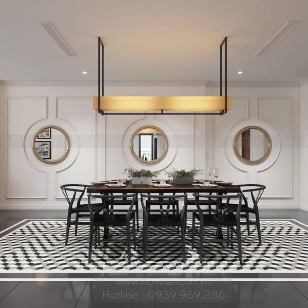 Thiết kế nội thất Vinhomes Central Park - Phong cách Đông Dương Phòng ăn phong cách châu Á bởi ICON INTERIOR Châu Á