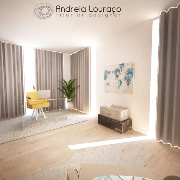 Escritório em Moradia: Espaços de trabalho por Andreia Louraço - Designer de Interiores (Contacto: atelier.andreialouraco@gmail.com)