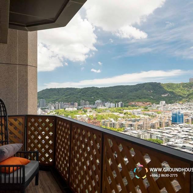 Hiên, sân thượng phong cách tối giản bởi 大地工房景觀公司 Tối giản