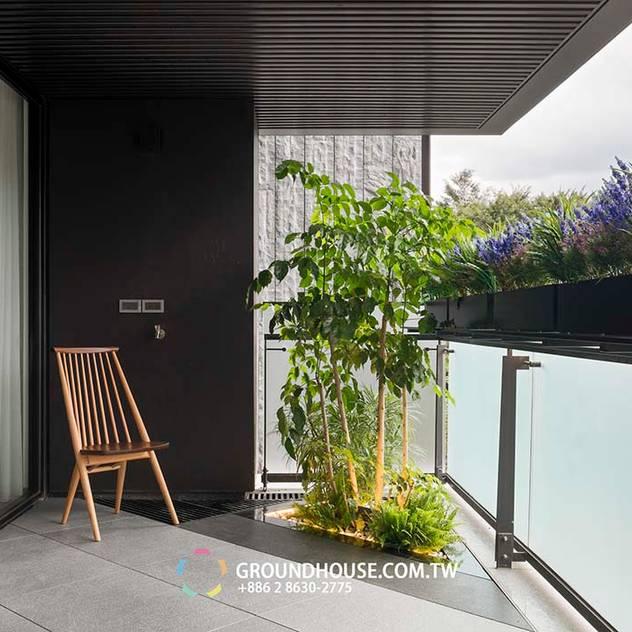 Hiên, sân thượng phong cách châu Á bởi 大地工房景觀公司 Châu Á