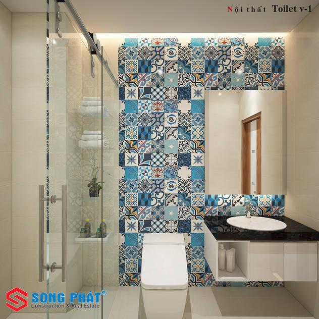 Các điểm nhấn thú vị được KTS thêm vào một cách khéo léo. Phòng tắm phong cách hiện đại bởi Công ty TNHH TK XD Song Phát Hiện đại Đá hoa