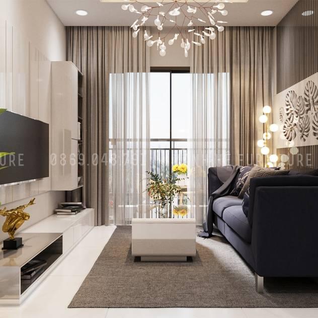 Phòng khách hiện đại, được trang bị đầy đủ đồ trang trí bởi Công ty TNHH Nội Thất Mạnh Hệ Hiện đại