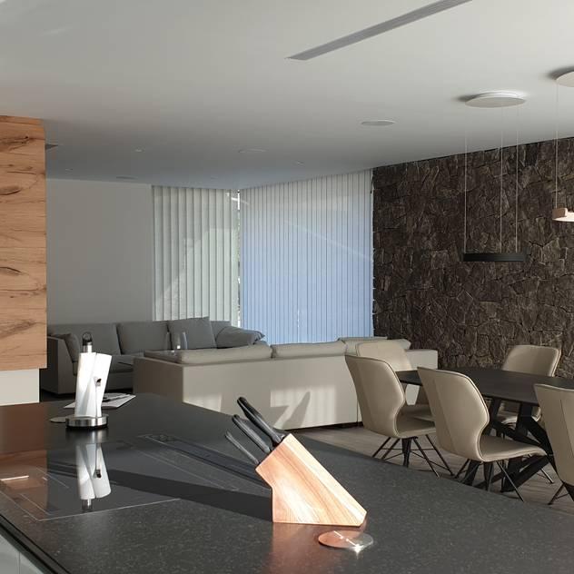 Cocina con isla: Salones de estilo  de GARLIC arquitectos, Mediterráneo
