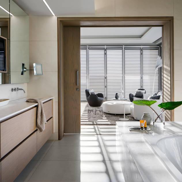 Connected Atlantic Living - Main Bathroom Jenny Mills Architects Modern bathroom