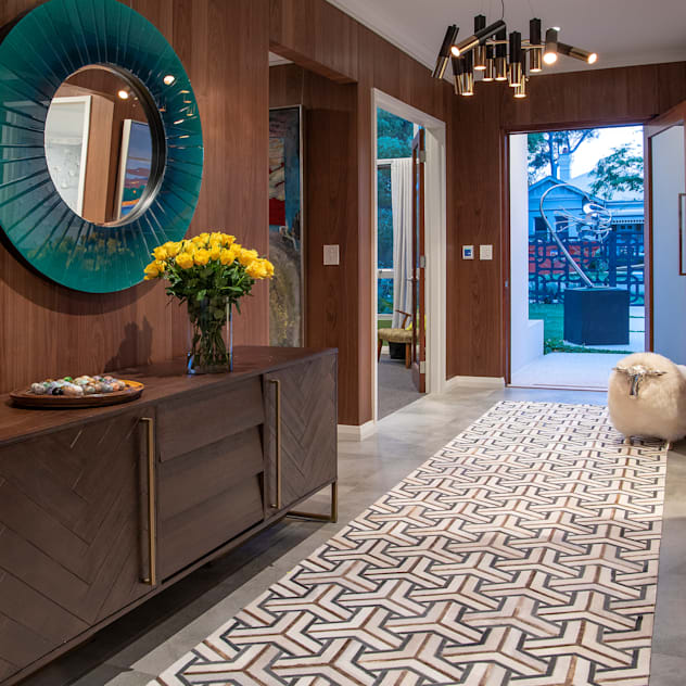 Mid-century Style Entrance Design Intervention Modern Corridor, Hallway and Staircase