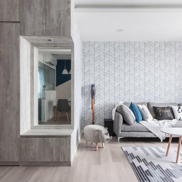 Nordic-Inspired Meter Square Pte Ltd Modern living room Wood White