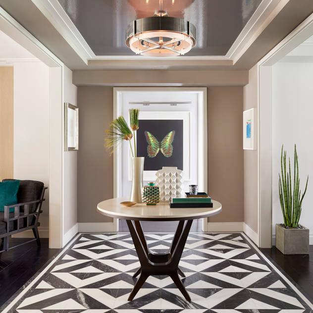Bespoke bachelor pad park avenue, NYC Darci Hether New York Modern Corridor, Hallway and Staircase