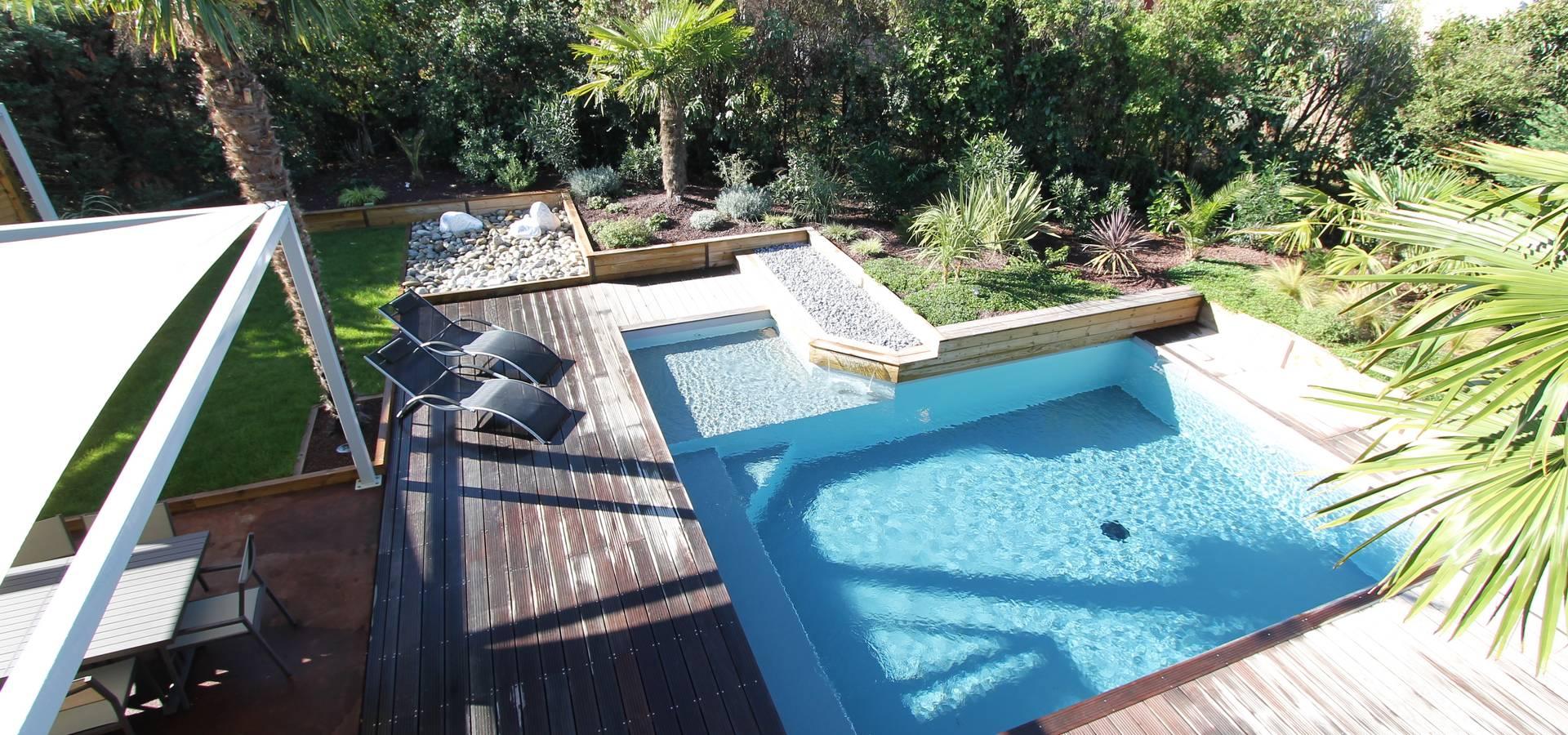 cr ation d 39 un jardin avec piscine por bureau d 39 etudes jardins kael homify. Black Bedroom Furniture Sets. Home Design Ideas