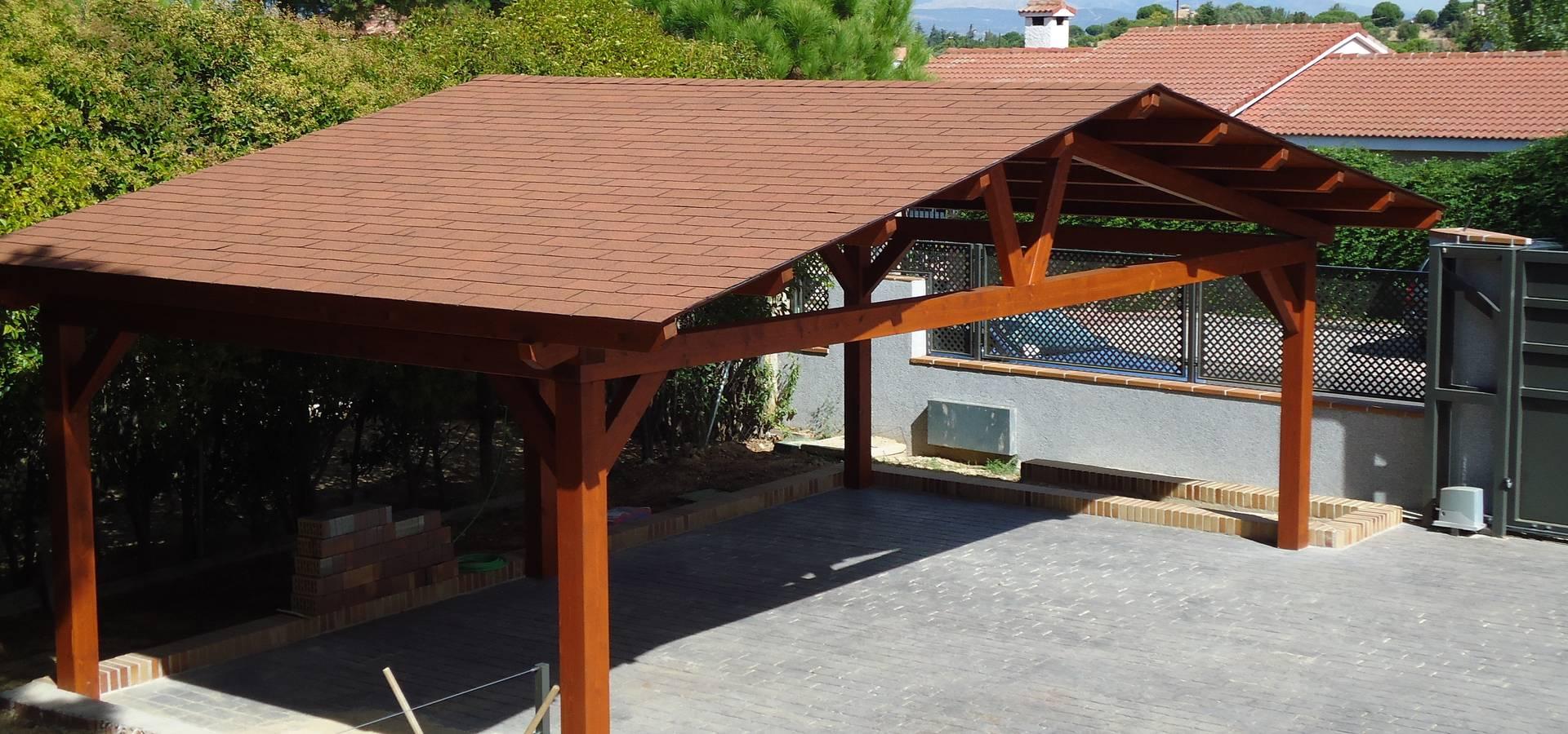 Garajes de madera de pergomadera p rgolas y porches de for Tejados de madera modernos