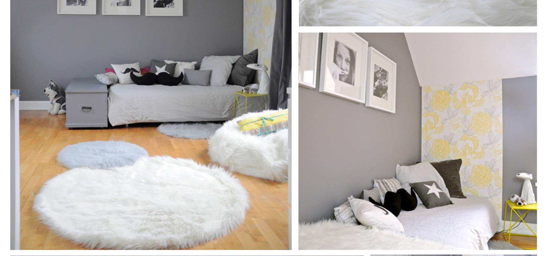 une chambre grise et blanche von idée ô logis | homify