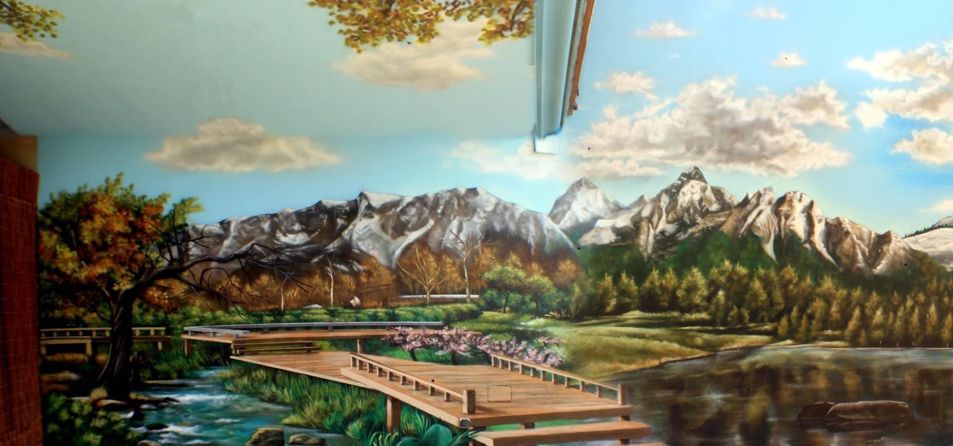 Patios interiores by pintura mural barcelona homify - Pintura mural barcelona ...