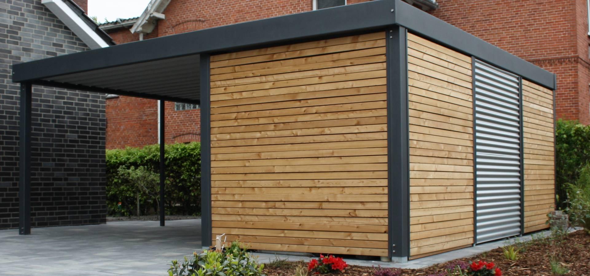 metallcarport mit sichtschutz aus holz de carport schmiede gmbh co kg homify. Black Bedroom Furniture Sets. Home Design Ideas