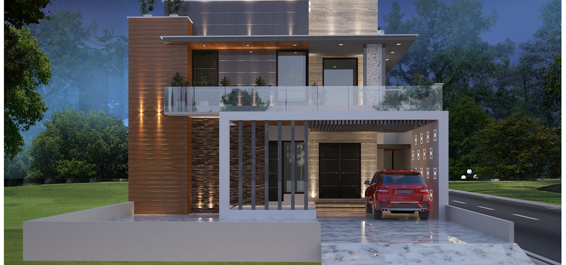 Changing The Front Elevation Of A House : Moon arc architects in ludhiana homify