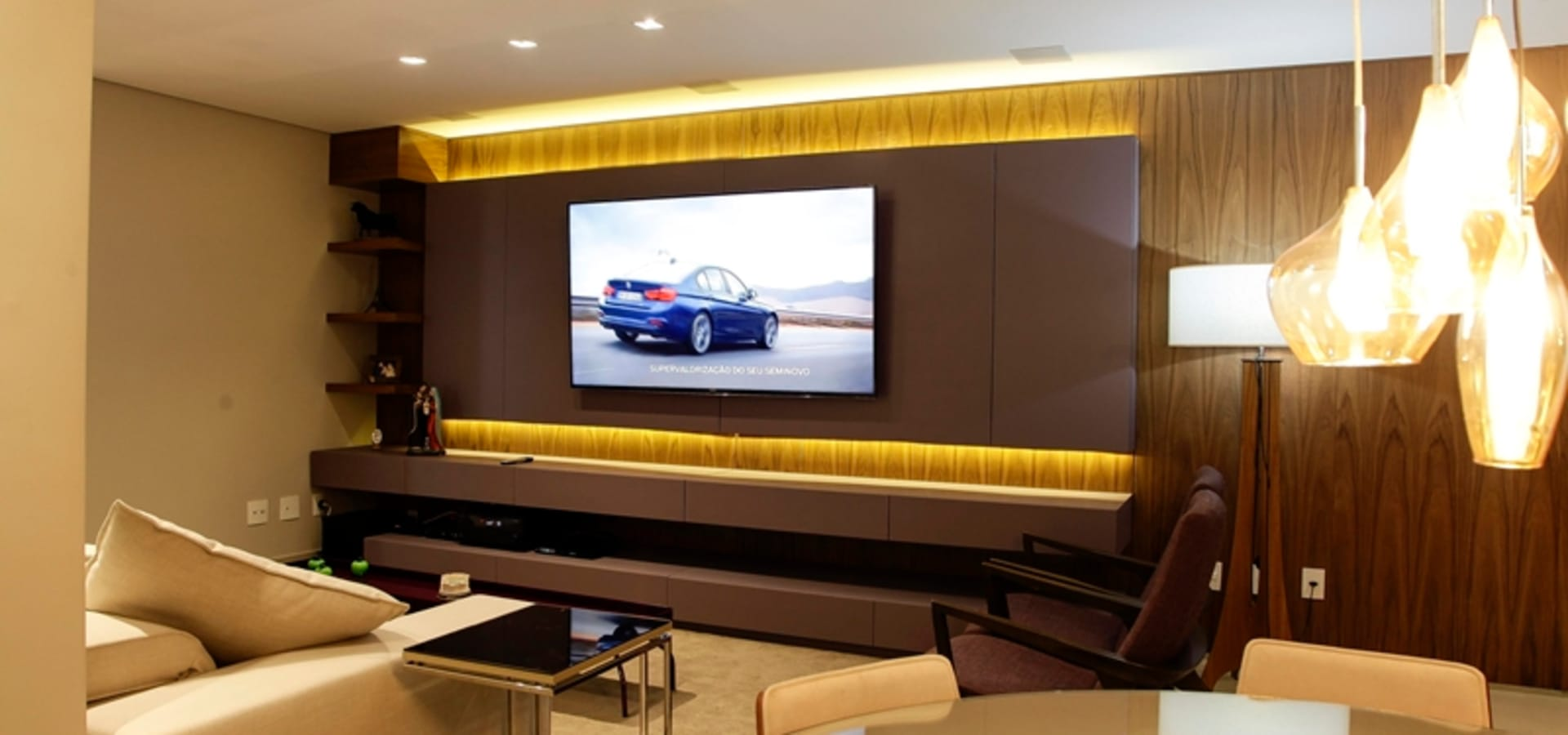 projeto sala home theater por griffe home theater homify. Black Bedroom Furniture Sets. Home Design Ideas