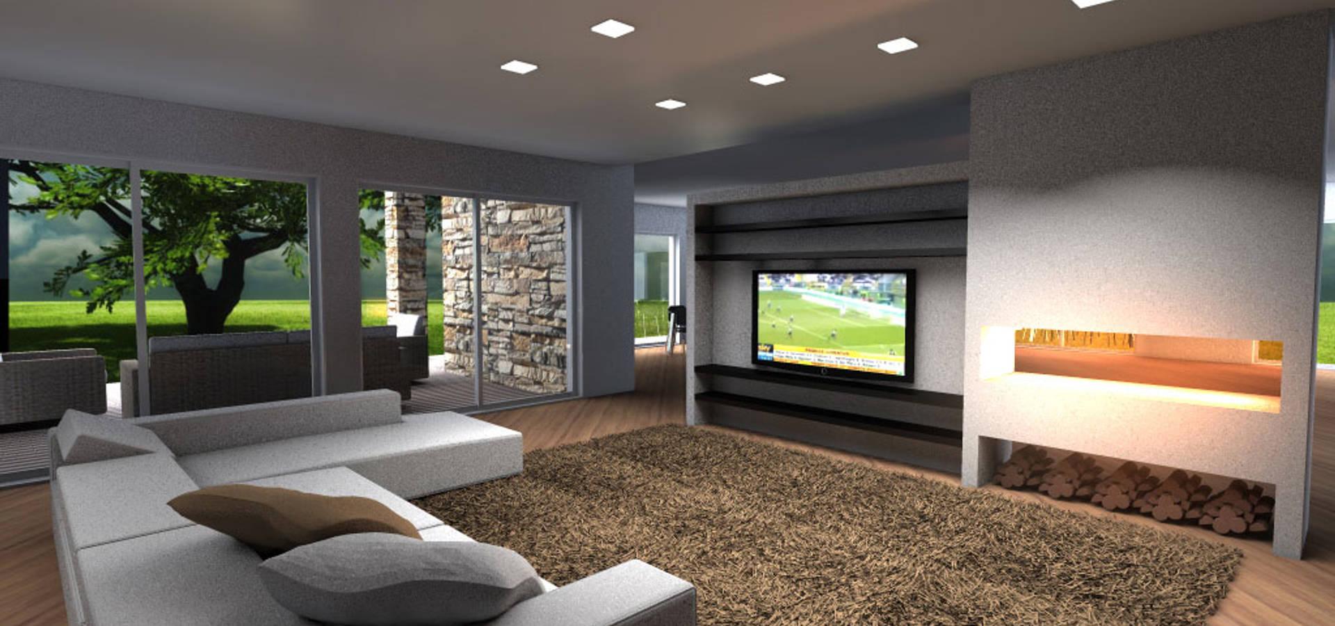 Living moderno por architettiamo progetti on line homify for Living modernos