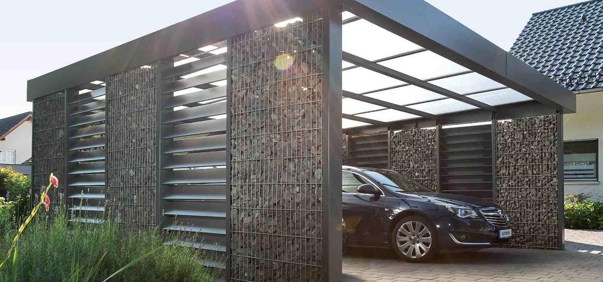 gabionen-doppelcarport par steelmanufaktur beyer | homify
